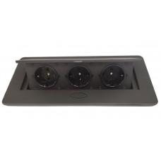 Блок врезной на 3 розетки с подъемной крышкой черный с круглыми краями