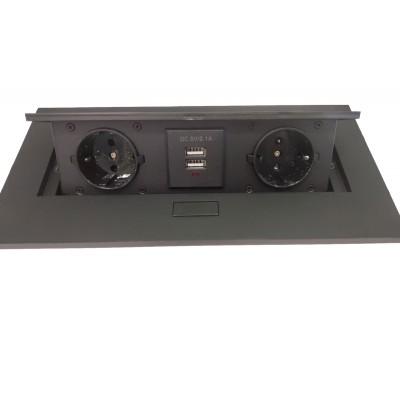 Блок врезной на 2 розетки + 2 USB с подъемной крышкой черный - 120524