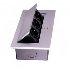 Блок врезной на 3 розетки с подъемной крышкой алюминий