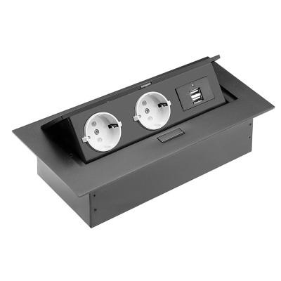 Удлинитель для офиса на 2 розетки с заземлением 2xUSB, черный, SCHUKO - AE-PBU02GS-20
