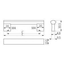 Ручка BO-311 160 мм Алюминий