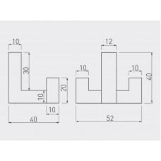 Крючок мебельный GTV K2202 двойной Сталь