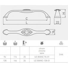 Ручка UZ-BIANC (96 мм, Хром)