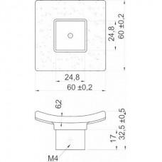 Ручка стеклянная квадратная S59 алюминий