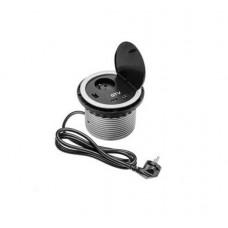 Удлинитель для офиса на 1 розетку с заземлением French, зарядка USB 5V 2A, серый