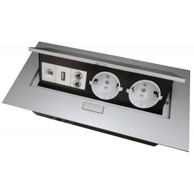 Удлинитель для офиса на 2 розетки USB аудио интернет выход с заземлением Schuko алюминий - AE-PB02GS-53