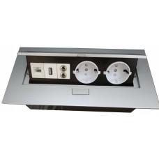 Удлинитель для офиса на 2 розетки USB аудио интернет выход с заземлением Schuko алюминий