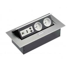 Удлинитель для офиса на 2 розетки USB аудио интернет выход из заземления алюминий