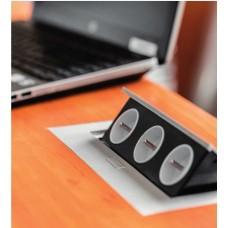 Удлинитель для офиса на 2 розетки с заземлением French черный, 2 USB + провод 1,5 метра с вилкой