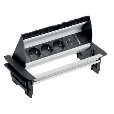 Удлинитель для офиса с пропуском под кабель на 3 розетки с заземлением schuko 2xUSB - AE-PBC3GS2U-53BKS