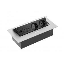 Удлинитель GTV 2 розетки SCHUKO USB HDMI интернет-выход Алюминий