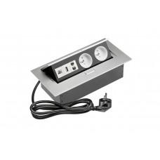 Удлинитель для офиса на 2 розетки USB аудио интернет выход из зас. ал. + провод 1,5 м с вилкой