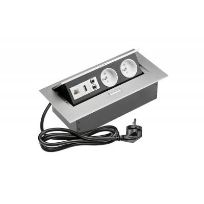 Удлинитель для офиса на 2 розетки USB аудио интернет выход из зас. ал. + провод 1,5 м с вилкой - AE-PBC2GU-53