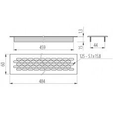 Решетка вентиляционная белая 480х60