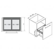 Мусорное ведро REJS Comfort Box 60 H = 350 направляющая L-400 серое