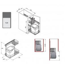 Мусорное ведро REJS универсальное, 12л, фасад 300мм, белое
