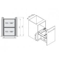 Мусорное ведро REJS Comfort Box 45 H = 350 направляющая L-500 серое