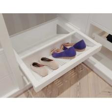 Полка для обуви металлическая elite 700 перфорированная мм с доводчиком, цвет белый