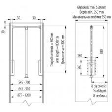 Пантограф с масляным подъемником 545-700 мм Белый до 8 кг