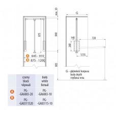 Пантограф с газовым подъемником 645-910 мм Белый до 12 кг
