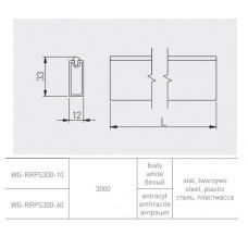 Штанга для гардеробной прямоугольная 12x32мм товщ. 1,5мм l=3m, колір графит