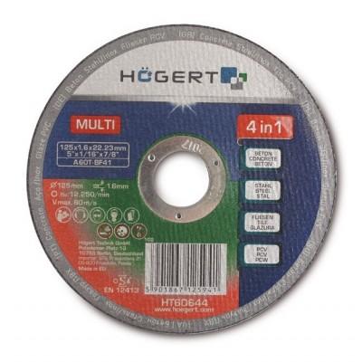 Диск обрезной HOGERT универсальный по металлу по бетону по керамике 125 мм PCV (А) - HT6D644