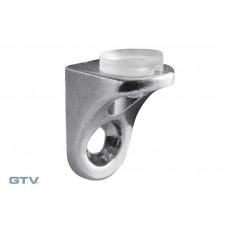 Полкодержатель для стеклянных полок крепления на шуруп, с резинкой хром CGP