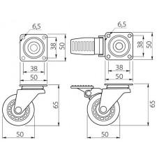 Мебельный ролик d 50 резиновый прозрачный с фиксатором