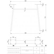 Каркас для стола GTV INDUSTRIA 710 мм x 820 мм трапеция с перекладиной профиль 80 x 20 мм черный