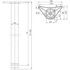 Мебельная опора с креплением DRT09 60x710 хром