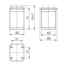 Ножка мебельная DAP-77 H-60 алюминий