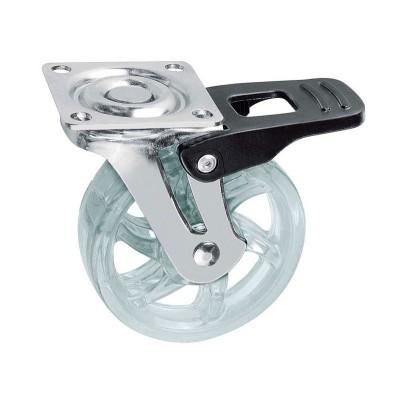 Мебельный ролик SHIFT d75 прозрачный с фиксатором - km-bh75mm-00
