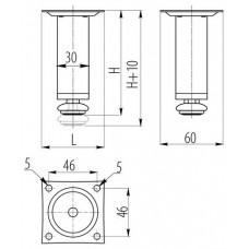 Ножка мебельная D-30 H-100 сатин