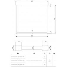 Каркас для стола GTV INDUSTRIA 710 mm x 820 мм прямоугольный PRO профиль 80 x 80 мм черный