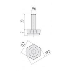 Ножка с регулировкой M6 (без муфты)