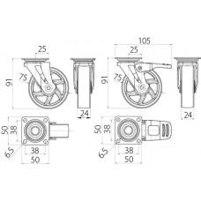 Мебельный ролик SHIFT d75 прозрачный