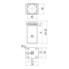 Ножка мебельная DAK-27 H-120 алюминий