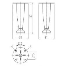 Ножка мебельная 3 H-100 хром