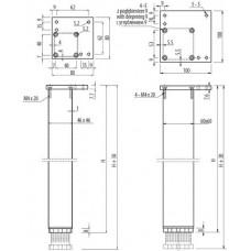 Квадратная мебельная опора с регулировкой 60х60х820