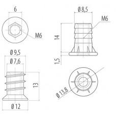 Муфта для ножки М6