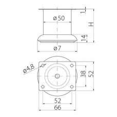 Ножка мебельная B-140 H-100 хром
