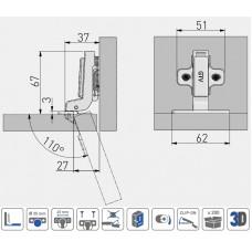 Петля внутренняя GTV Clip без пружины без эксцентрикового регулирования