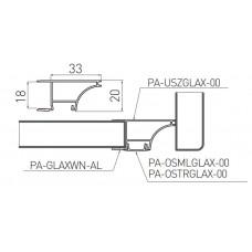 Алюминиевый профиль GLAX для торца полок, ДСП 18мм, 2 метра (цена за 2 метра)