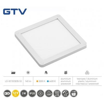 Светильник LED VEGAS 100x100, 2 в 1 теплый и холодный белый, кабель mini amp2m, алюминий - LD-VE15CBZB-53
