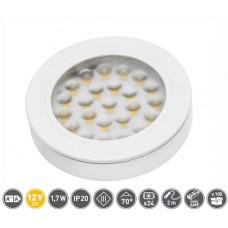 Светильник LED Врезной / накладной Vasco, 12V DC, 24 SMD3528, 200см провод с miniAMP т / б, белый