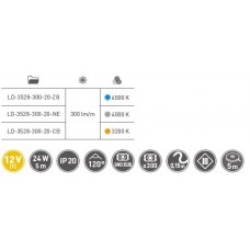 Лента светодиодная Flash 3528, 60 диодов на 1 м, теплый белый, 24W, без силикона, 8 мм, бухта 5м