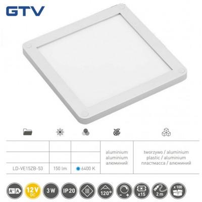 Светильник LED VEGAS 100x100, холодный белый, кабель mini amp 2m, алюминий - LD-VE15ZB-53