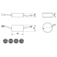 Сенсорный выключатель GTV ON-OFF беспроводной 12V 60W Черный