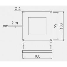 Светильник LED VEGAS 100x100, холодный белый, кабель mini amp 2m, алюминий