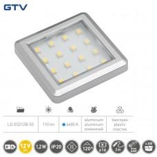 Светильник LED квадратный Estella, 12V DC, 1.2W, 16 SMD3528 x / б, серый